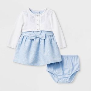 Cat and Jack Infant Cardigan and Jacquard Dress